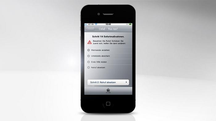 Mercedes-Benz Service iPhone App - Unfall was tun? Schritt 1/4