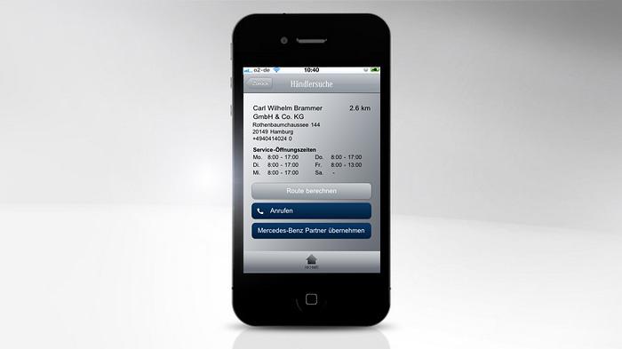 Mercedes-Benz Service iPhone App - Händlersuche