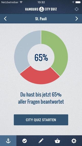 Hamburg City Quiz Startscreen